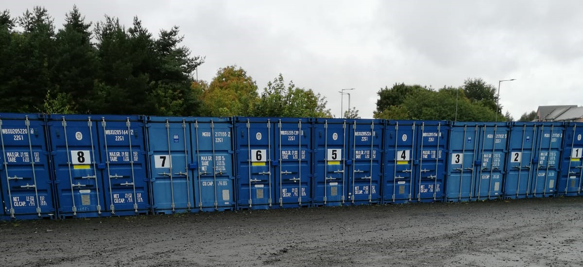 Long Image of Various Numbered Containers2 - Adams Self Storage